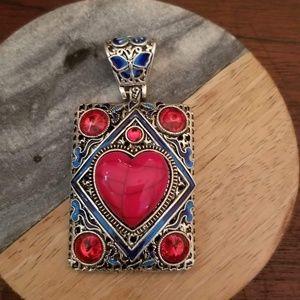 NEW Tibetan Silver Red Heart Inlaid Statement blue